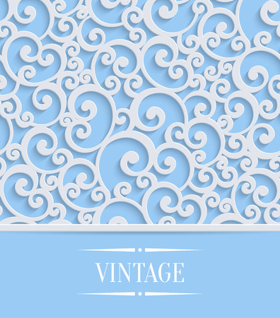 curle: 3d Floral Blue Wedding or Invitation Card with Curl Pattern. Vector Swirl Design Illustration