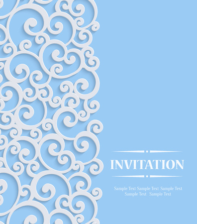 curle: Blue 3d Floral Curl Wedding or Invitation Card with Swirl Damask Pattern
