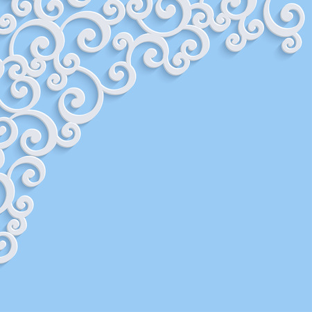 swirl: Blue 3d Floral Swirl Background with Curl Pattern for Wedding or Christmas Invitation Card. Vector Abstract Vintage Design