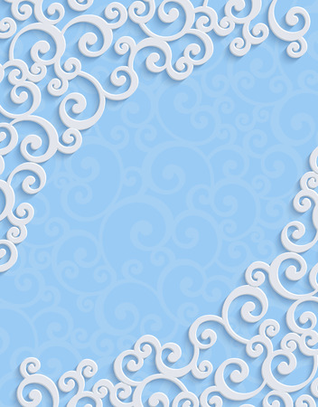curle: Blue 3d Floral Swirl Vertical Background with Curl Pattern for Wedding or Invitation Card. Abstract Vector Vintage Design Template Illustration