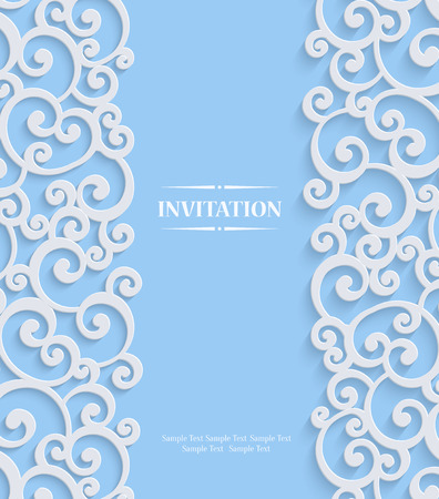 curle: Blue 3d Swirl Wedding or Invitation Card with Floral Curl Pattern, Christmas Vector Template Background Illustration