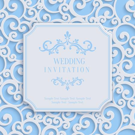 벡터 블루 차원 컬 결혼식이나 다 꽃 소용돌이 패턴 초대 또는 인사말 카드 일러스트