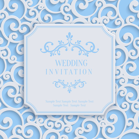 Vector Blue 3d Curl Wedding or Invitation or Greeting Card with Damask Floral Swirl Pattern