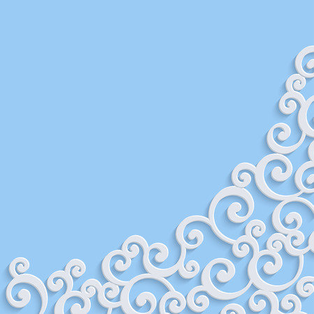 curle: Blue 3d Floral Swirl Background with Curl Pattern. Abstract Vector Vintage Christmas or Wedding Design Template