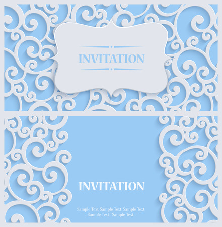 curle: 3d Swirl Background with Floral Damask Curl Pattern for Greeting or Invitation Card Design in Paper Cut Style. Vector Blue Vintage Template