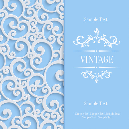 curle: Floral Swirl Background with 3d Curl Damask Pattern for Wedding or Invitation Card. Vector Blue Vintage Design