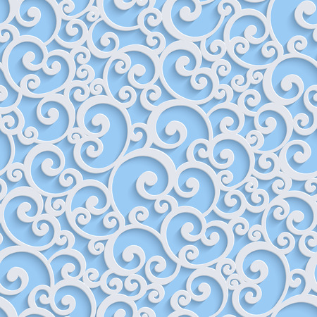 Blue Floral 3d Seamless Pattern Background. Vector Curl Decoration For Wallpaper or Invitation Card. Swirl Design