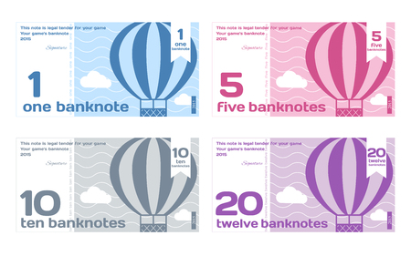Vector Cute Colour Banknotes Set 1 in Flat Style on White Background