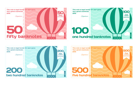 Vector Cute Colour Banknotes Set 2 in Flat Style on White Background