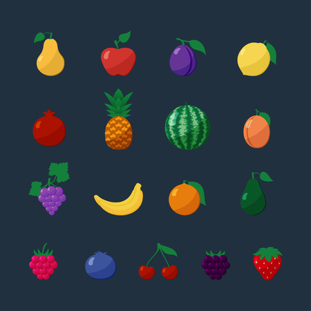 apple isolated: Vector Icons Fruits and Berries in Flat Style Set Isolated over Dark Background with Apple, Pear, Banana, Lemon, Cherry, Strawberry, Raspberry, Blueberry, Blackberry, Grapes, Pomegranate, Pineapple, Orange, Plum, Watermelon, Avocado, Apricot Illustration