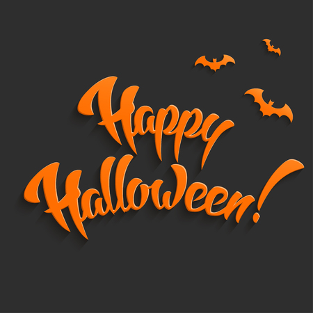 copy text: Happy Halloween Vector Background with Hand Lettering 3D Text Illustration