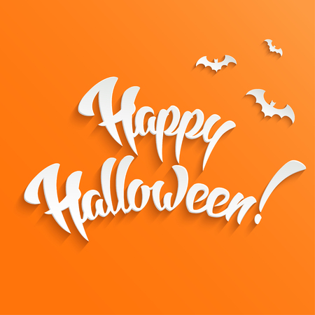 cute background: Cute Happy Halloween Greeting Card with 3d Hand Lettering on Orange Background