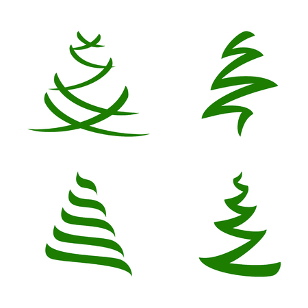 Stylized Christmas Tree - Vector Set of Creative Isolated Design Elements Illustration