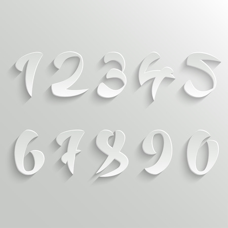 numbers icon: Vector Set of 3d White Calligraphic Numbers. Easy paste to any background Illustration