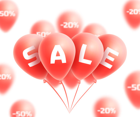 bunch: Sale background with red realistic balloons bunch