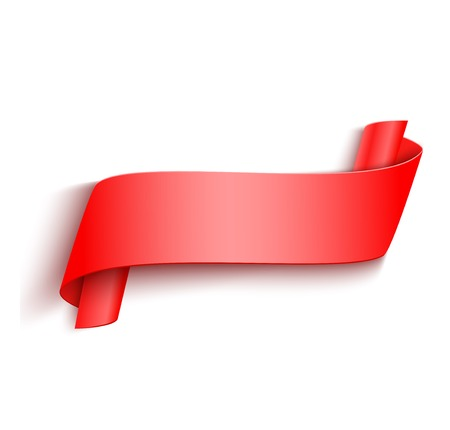 curved ribbon: Vector 3d Red Curved Paper Banner Isolated on White Background. Easy Paste to Any Background