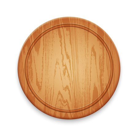 Wooden Empty Round Cutting Board Isolated on White Background Ilustracja