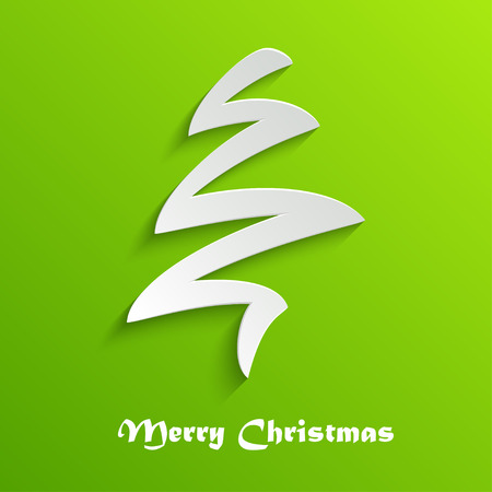 Abstract Stylizes White Christmas Tree on Green Background