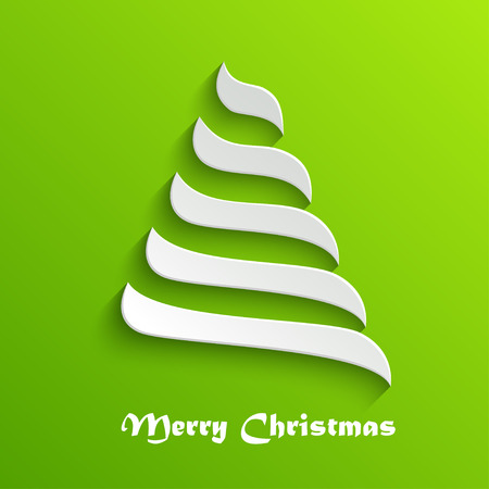 white christmas tree: Abstract Modern 3d White Christmas Tree on Green Background