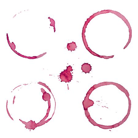 와인 얼룩 반지 세트 1은 그런 지 디자인을위한 흰색 배경에 고립 일러스트