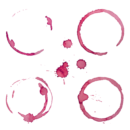 Wine Stain Rings Set 1 Isolated On White Background for Grunge Design