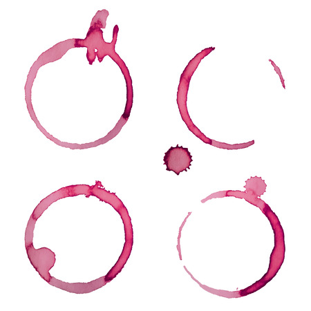 Wine Stain Rings Set 2 Isolated On White Background for Grunge Design  イラスト・ベクター素材