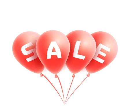 red balloons: Sale on red realistic balloons bunch isolated on white background Illustration