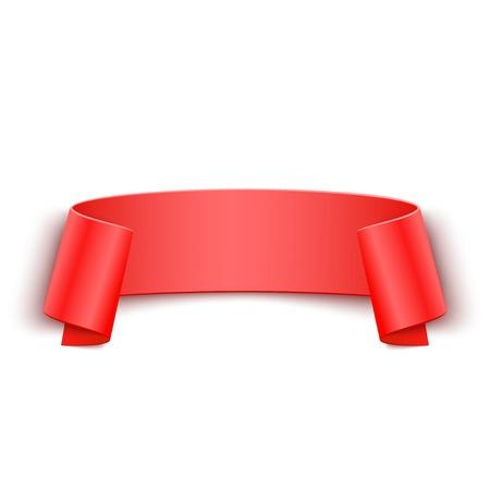 papier banner: 3d Red Gebogene Papier Banner isoliert auf wei�em Hintergrund.