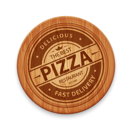 cutting board: pizza restaurant label on wooden cutting board, isolated on white background
