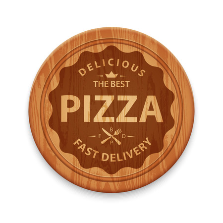 cutting board: Pizza hipster badge on cutting board, design template