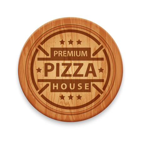 cutting board: Pizza restaurant label on wooden round cutting board, design template Illustration