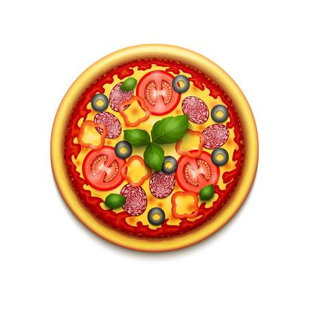 チーズ、チェリー トマト、バジルの白い背景で隔離の現実的なピザ