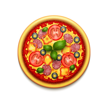 realistic pizza with cheese, cherry tomatoes and basil isolated on white background