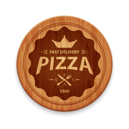 cutting board: Pizza hipster label or badge on round cutting board, design template