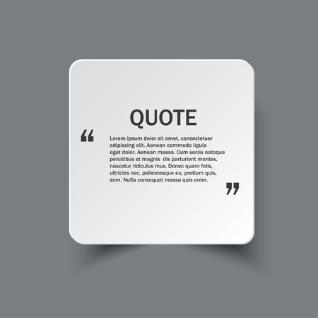 textbox: Quote form on square paper banner with shadow, design template
