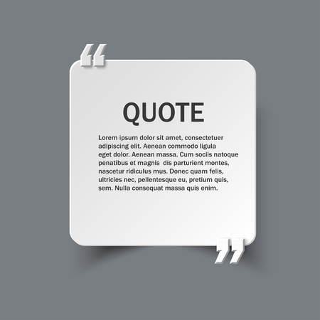Quote form on square paper card with commas, vector design template Ilustração