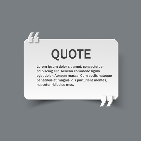 textbox: Quote form on paper card or banner with commas, design template