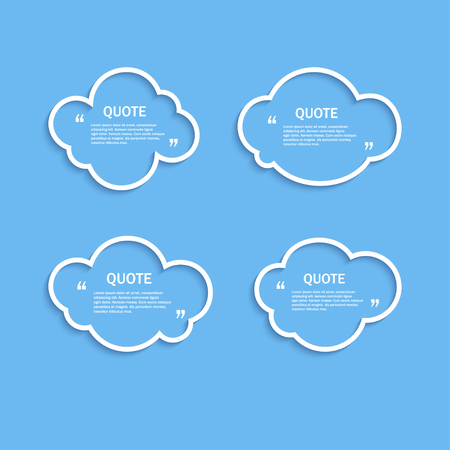 textbox: Quote outline clouds set, template Illustration