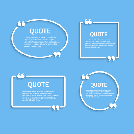 textbox: Quote outline frames with commas set, template