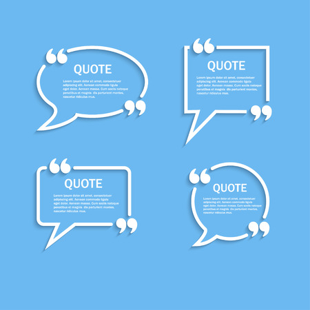 textbox: Quote outline speech bubbles with commas set, template