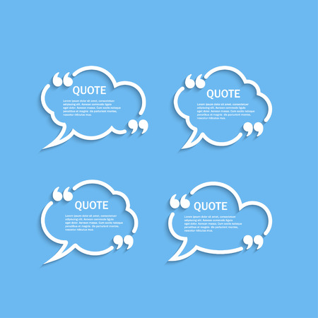 textbox: Quote outline cloud speech bubbles with commas set, template Illustration
