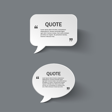 textbox: Quote form on paper speech bubbles with shadow, design template