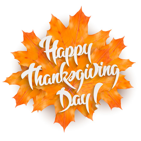 Happy Thanksgiving Day - hand lettering greeting card design element with maple leaves, isolated on white background 일러스트