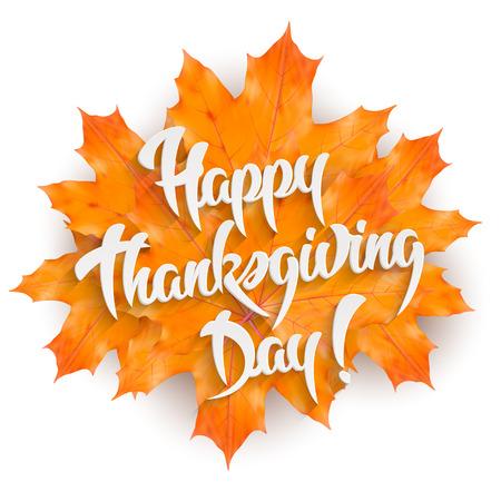 Feliz Día de Acción de Gracias - tarjeta de felicitación de la mano letras elemento de diseño con hojas de arce, aislados en fondo blanco