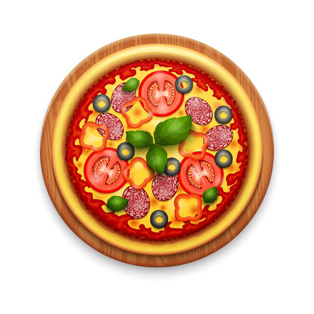 pizza ingredients: Vector realistic pizza with cheese, cherry tomatoes and basil on wooden cutting board Illustration
