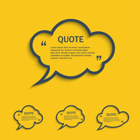 word bubble: Quote line cloud speech bubbles set, vector template