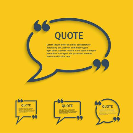 Quote line speech bubbles with commas set, vector template Illustration