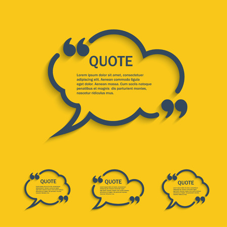 Quote line cloud speech bubbles with commas set, vector template Çizim