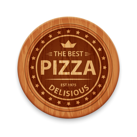 cutting board: Vector logo for pizza restaurant on wooden round cutting board, design template Illustration