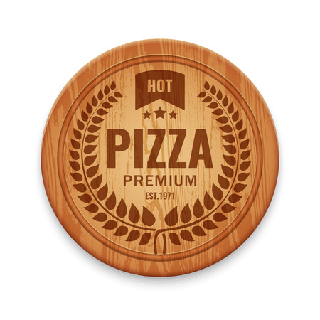 europe closeup: Vector logotype for pizza restaurant on wooden round cutting board, design template